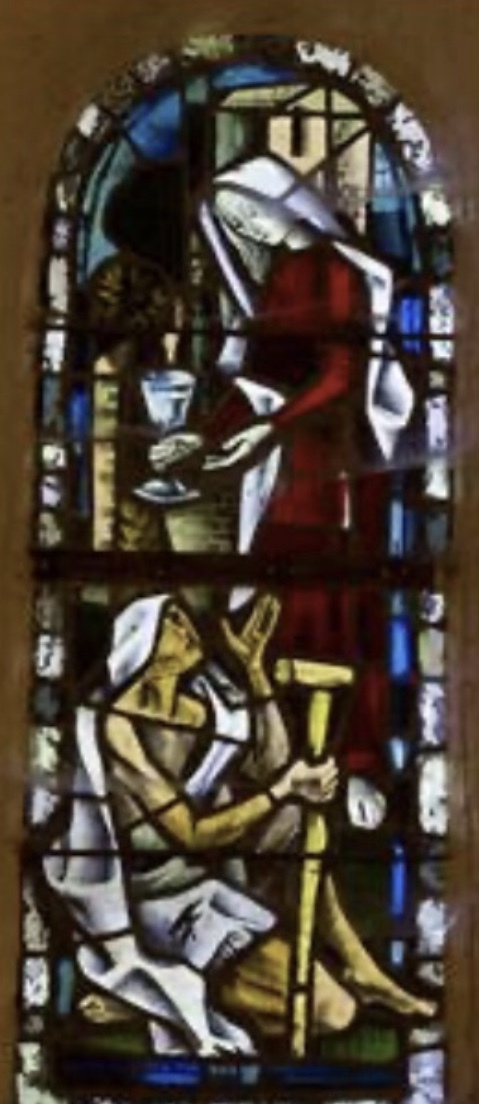 8 - Vitrail de la nef - face à la porte latérale en allant vers le double portail : Le Christ et la Samaritaine